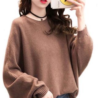 新品★ニット 着痩せ効果 無地セーター ゆったり可愛いタイプ シ...