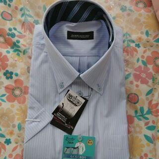 新品 ワイシャツ ビジネス 仕事用 メンズ XL 水色ストライプ