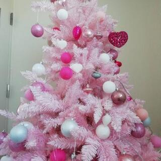 クリスマスツリー🎄光る大きなピンクのXmasツリー