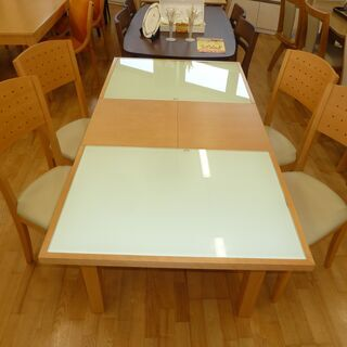 k91伸長ダイニングテーブル5点セット☆テーブル+椅子4脚☆12...