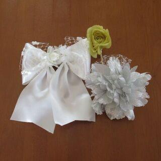 コサージュ(シルバー&黄色),髪飾り(白色) 3点セット