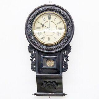 引取限定 ジャンク 精工舎 柱時計 大型10吋 鎌倉彫巻物型 ゼ...