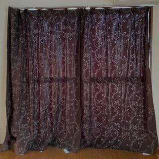 【ネット決済】カーテン2枚組 黒 ナチュラル柄 蔦模様 遮光性
