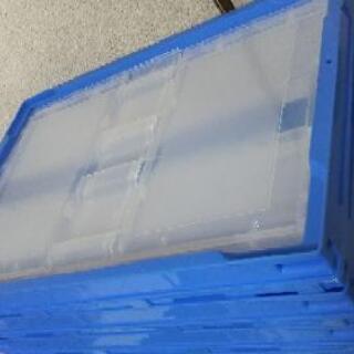 アスクル「現場のチカラ」 軽量薄型 折りたたみコンテナ フタ無 50Lタイプ ブルー - 生活雑貨