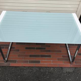 ■ガラステーブル ダイニングテーブル デザイン ホワイト 強化ガラス - 家具