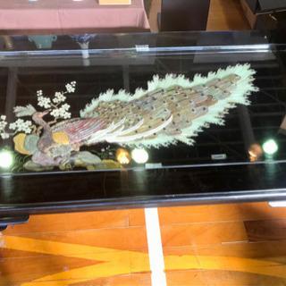 中国 螺鈿(らでん)細工 天板ガラス テーブル
