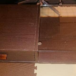 【ネット決済】【値下げ】木製机  半ガラス天板 引き出し付き
