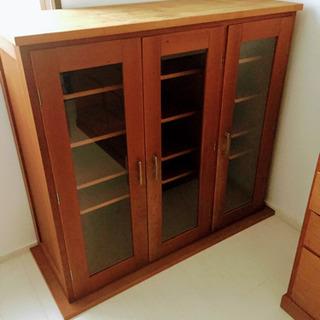 食器棚 キャビネット 北欧風 無垢材 天然木 カップボード 本棚...