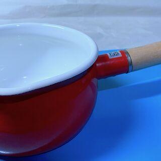 [中古鍋] ホーロー 片手鍋⑦ 可愛いらしい赤色 ミニソースパ...
