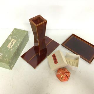 茶道具3個セット 飛騨春慶 花器 漆器 布香合と盆付き 伝統工芸品