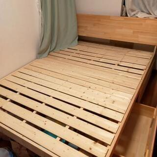 ワイドダブルベッド マットレス付き - 家具