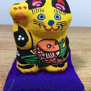 【郷土玩具23】猫の人形 招き猫(小) 春日部張り子 右手…