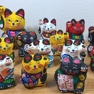 【郷土玩具11】猫の人形 招き猫 大小14匹 春日部張り子 左手...