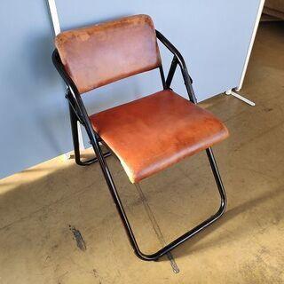 革張り折り畳みパイプ椅子『良品中古』  【リサイクルショップサルフ】