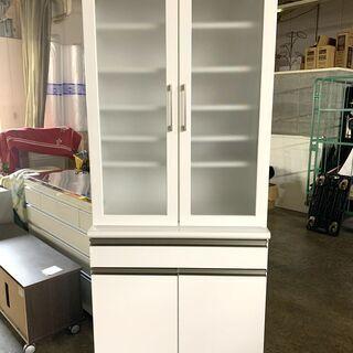 定価6万円以上! 食器棚 ホワイト 幅800×奥行450×高さ1...