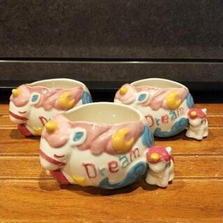 陶器のユニコーン小物入れ×3