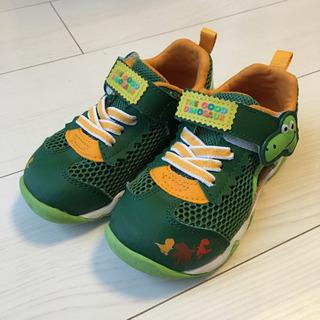 16㎝ 靴 緑 恐竜 メッシュ