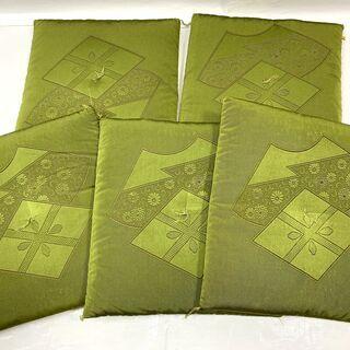 高級 御座蒲団 5枚セット! 座布団 グリーン 刺繍 仏事…