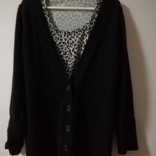 黒ロングカーデガン&Tシャツ