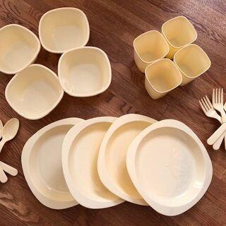 ★新品★ピクニック用食器セット4人分 袋入り