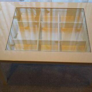 《お値下げ》上面ガラスのセンターテーブル 引出しつき