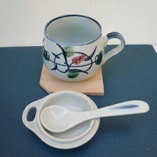 お碗 陶器 スプーン 箸置き 陶彩 セット 茶碗蒸し ティーセット
