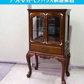 ◇螺鈿細工 飾り棚 幅53cm 唐木 家具 木製 ガラス 工芸品...