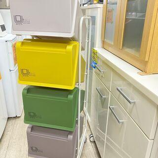 リス コンテナスタイル キャスター付 4分別ゴミ箱/ダストボック...