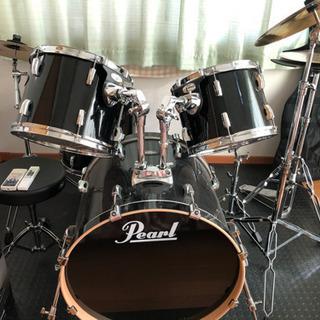 Pearlドラム黒BLACKセット防音マットあり‼️美品