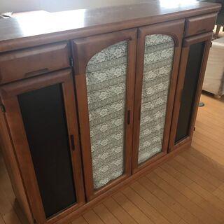 《市内送料無料》収納棚 キャビネット ガラス 木調