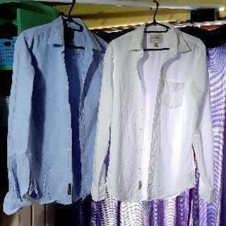 メンズ シャツ ホワイト ブルー2枚セット