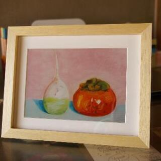 絵画 アートプリント 収穫2:大根と柿
