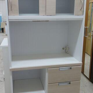 ノダ工芸 レンジボード 食器棚 ハイタイプ クリーム90 …