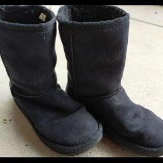 【防寒】子供モコモコ ブーツ 黒 20cm
