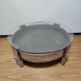 アジアンローテーブル ガラス棚一式