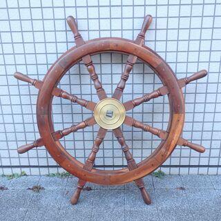 舵輪 操舵輪 ラット ウッド 木製ラット 船舶 アンティーク 雑...