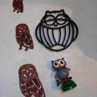 ふくろう 鉄製 鍋敷き & 木製 モビール & 首振り人形