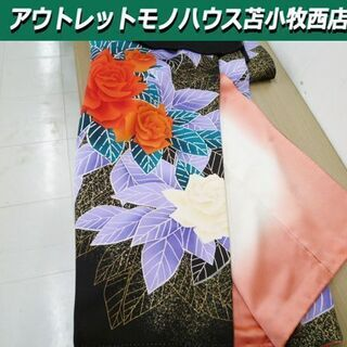 振袖 晴れ着 着物 和服 黒系 花柄 正絹 仕立て上がり 身丈1...