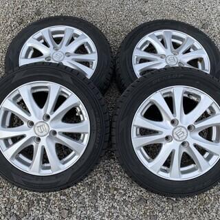 155/65R14 ダンロップスタッドレスタイヤ+アルミ 4本セット