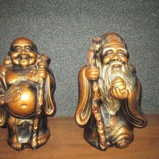 【置物】陶器製 布袋&福禄寿の2個&木彫り 布袋