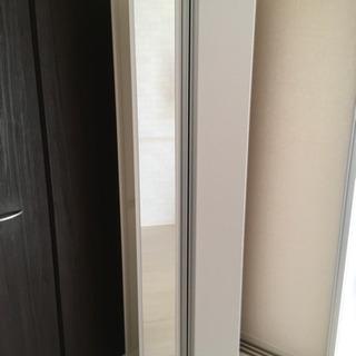 【お値下げ】美品☆ミラー付シューズボックス(白) 収納棚
