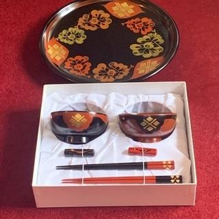 秀衡塗(未使用) 夫婦セット 盛り皿