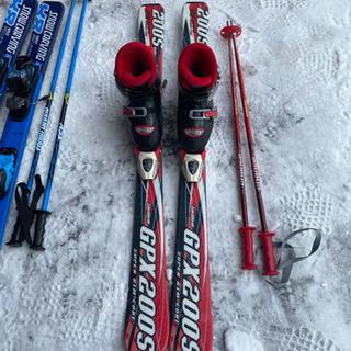 子供スキー3点セットレッド110小学校低学年の画像