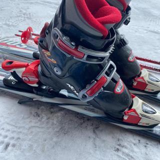子供スキー3点セットレッド110小学校低学年 - 旭川市