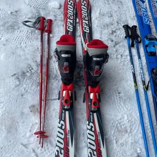 子供スキー3点セットレッド110小学校低学年 - その他