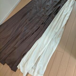遮光カーテン レースカーテン 茶色セット