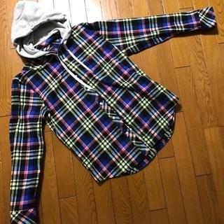 【美品】TOMMY チェックシャツ sizeL フード付 トミー