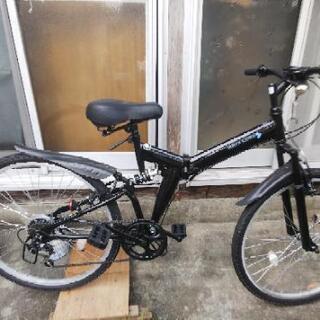 自転車、新古車(折り畳み、前後サス有り、26インチ)