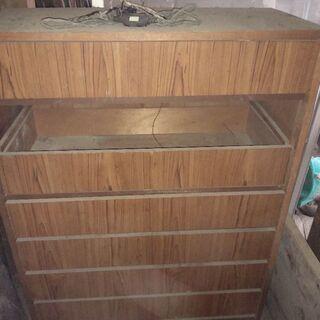ジャンク 木製 棚 引き出し 7段