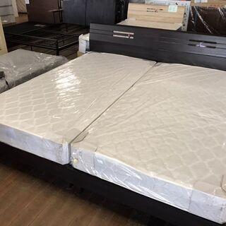 新品シングルベッドを2台連結!幅2メートル!余裕の広さ!セット価...